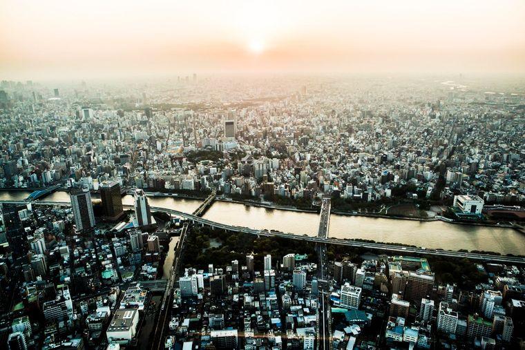 Vor allem bei Sonnenuntergang, genießt du einen herrlichen Blick über die Hauptstadt von Japan.