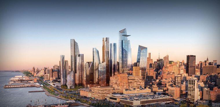 New Yorker Skyline mit dem neuen Hudson-Yards-Komplex.