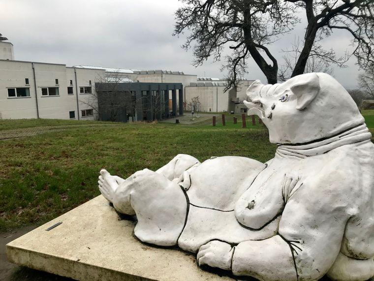 Kunst ist auf der Insel Bornholm auch in der Natur zu sehen – etwa das Schwein von Bildhauer Jörgen Haugen Sörensen, das oberhalb der Helligdomsklippen steht.